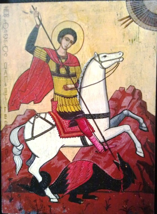 Icon of Saint George, from the Republic of Georgia (2001); Georgian inscription