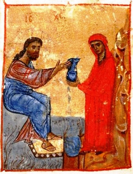 Jesus and Samaritan Woman at Jacobs Well Georgian XII Century AD